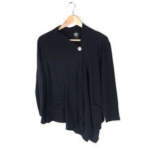 Bobeau cardigan fleece wrap sweater XL black knit